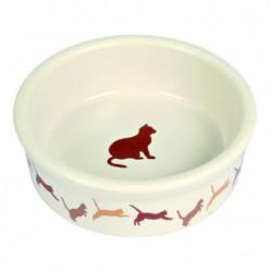 Keramisch - Voerbakje kat met motief