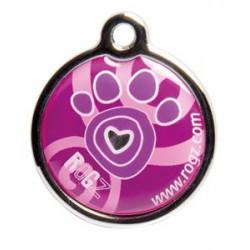 Rogz ID Tag metaal pink paw