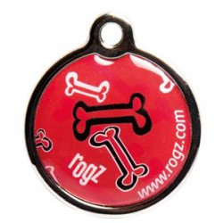 Rogz ID Tag metaal red bone